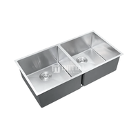 Square Hand Made Stainless Steel Kitchen Sink 880X450X220