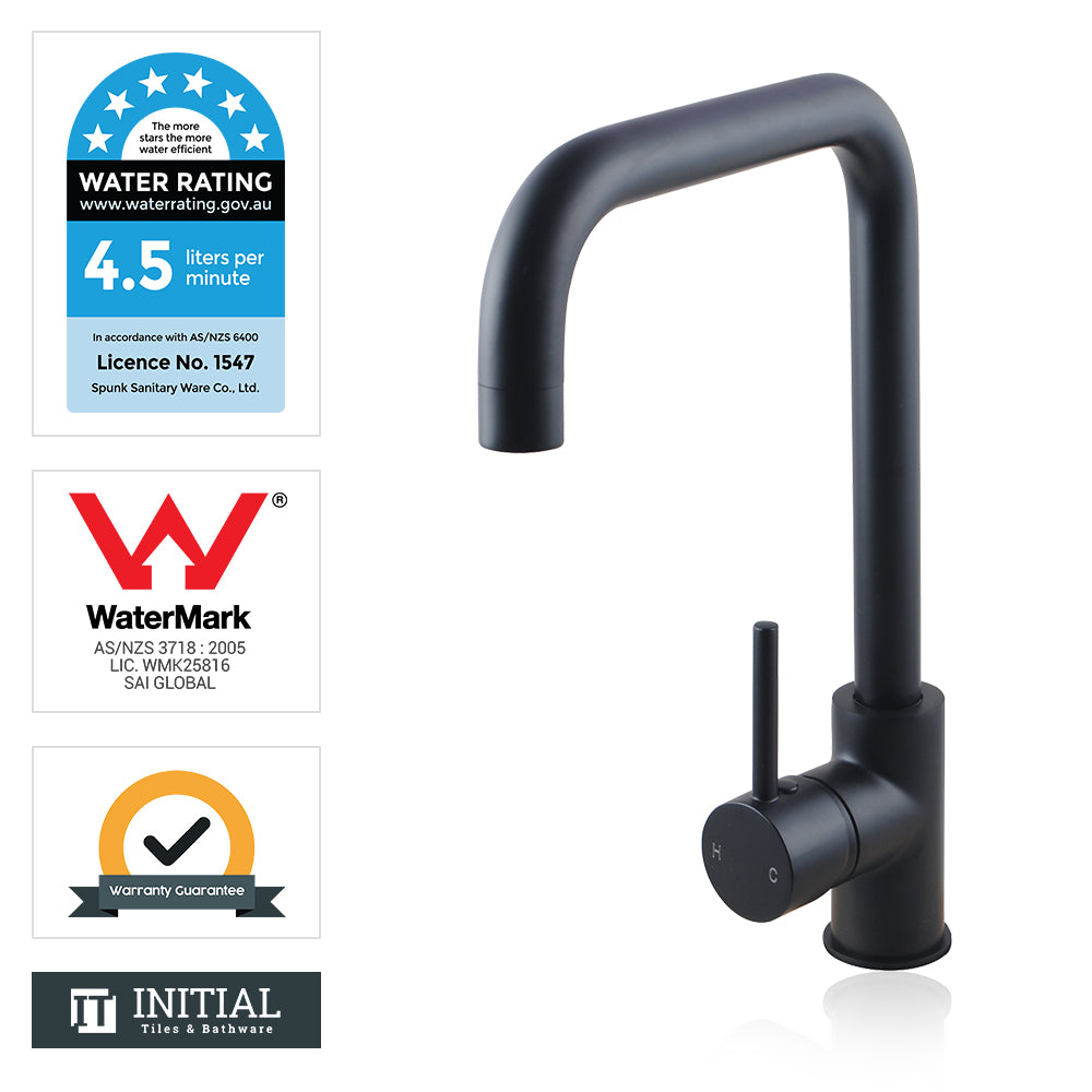 Kitchen Gooseneck 360° Swivel Spout Sink Mixer Matt Black