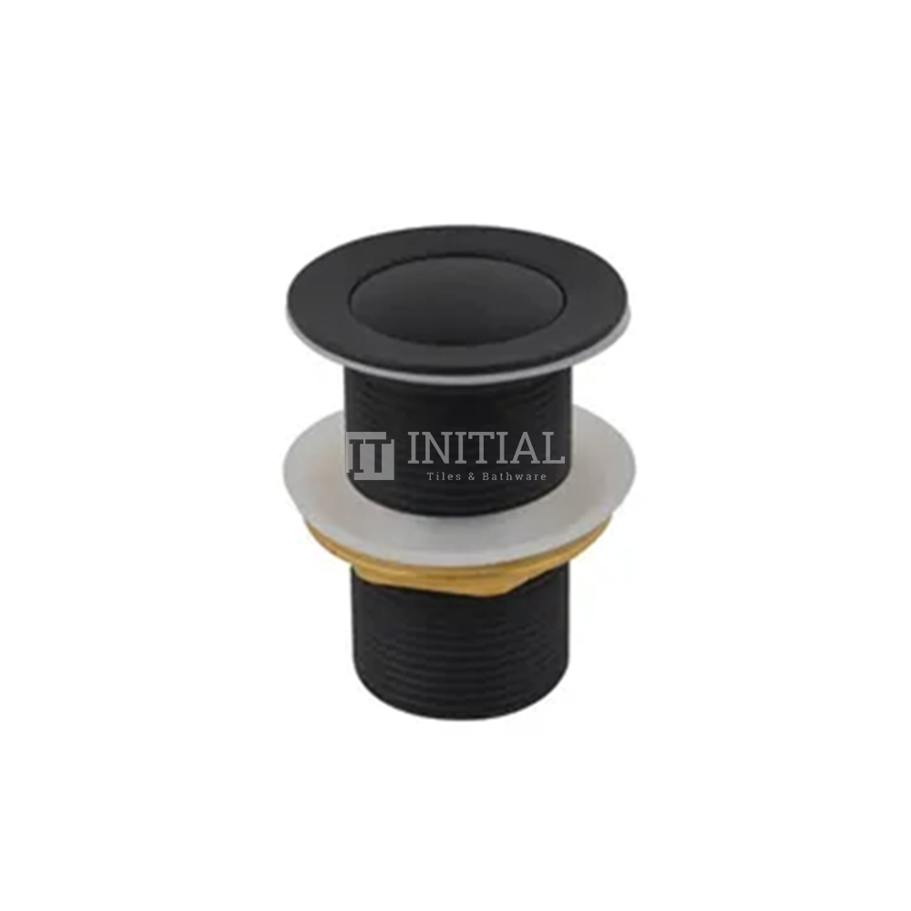 Standard Brass Basin Push Button Waste Without Overflow Matt Black 32mm