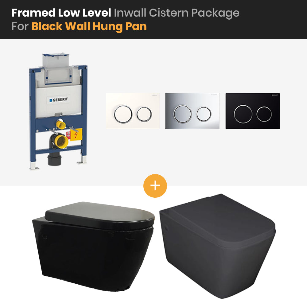 Bathroom Geberit Kappa Framed Low Level In Wall Cistern Black Wall Hung Pan Package