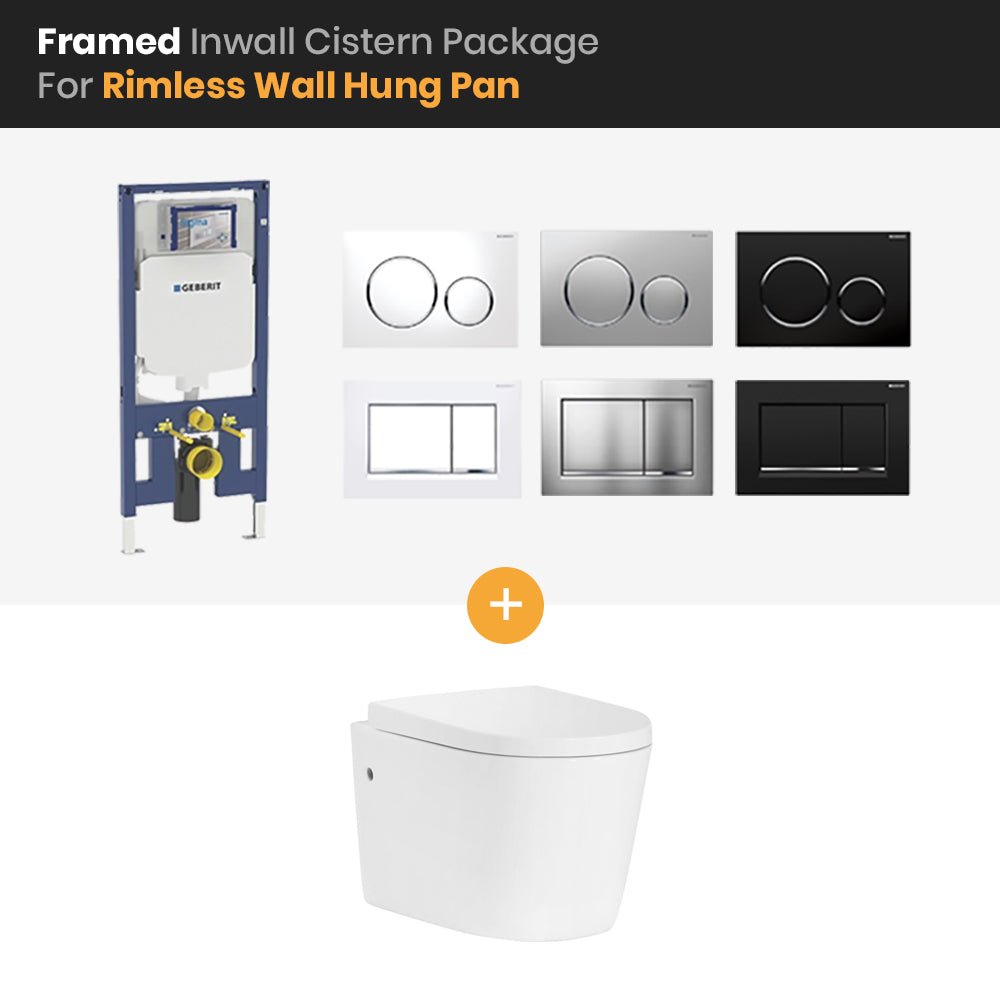 Bathroom Geberit Sigma Framed In Wall Cistern Rimless Wall Hung Pan Package