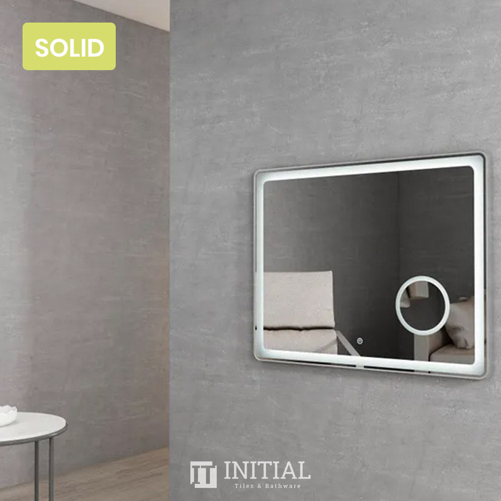 Bathroom Wall Mounted Newtown Brushed Silver Frame Led Mirror Solid Surface Edge 900X700MM