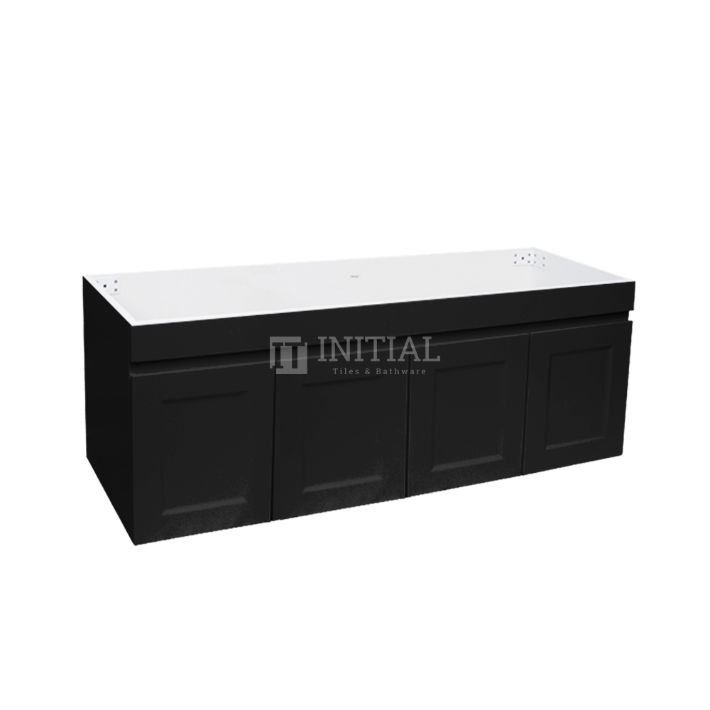 Hampton Wall Hung Vanity with 2 Finger Full Soft Close Doors and 2 Side Drawers Matt Black 1500X450X450