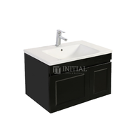 Hampton Wall Hung Vanity with 1 Finger Full Soft Close Door and 1 Drawer Matt Black 740W X 450H X 450D