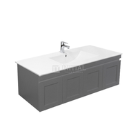 Hampton Wall Hung Vanity with 2 Finger Full Soft Close Doors and 2 Side Drawers Matt Grey 1200X450X450