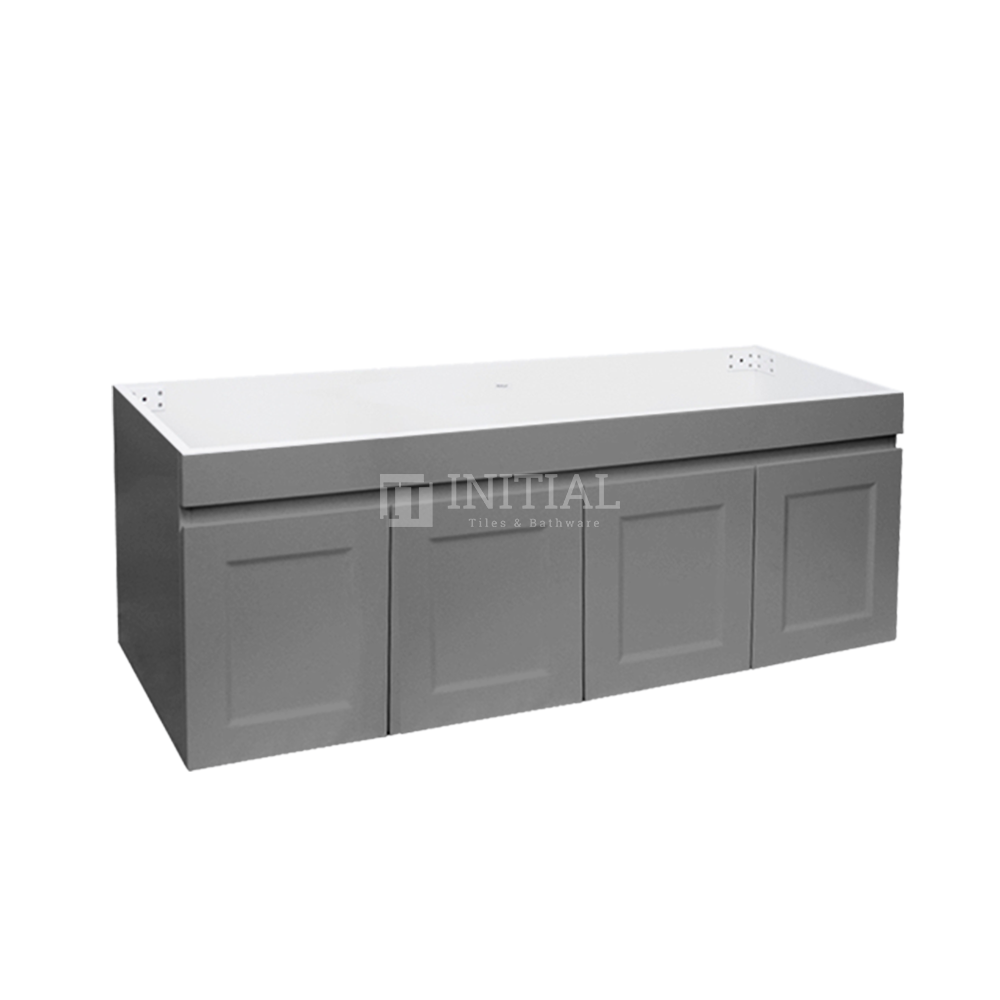 Hampton Wall Hung Vanity with 2 Finger Full Soft Close Doors and 2 Side Drawers Matt Grey 1500X450X450