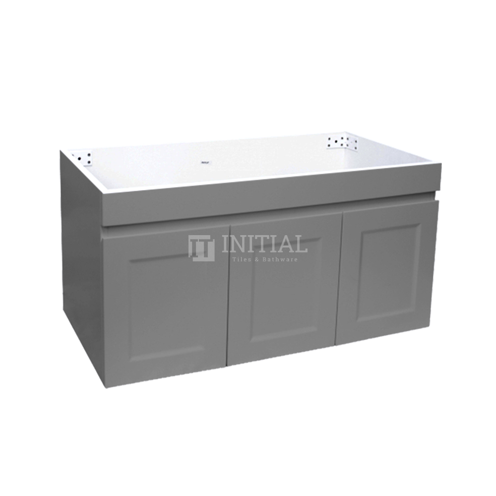 Hampton Wall Hung Vanity with 1 Finger Full Soft Close Door and 2 Side Drawers Matt Grey 900X450X450