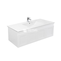 Hampton Wall Hung Vanity with 2 Finger Full Soft Close Doors and 2 Side Drawers Matt White 1190W X 450H X 450D