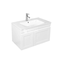 Hampton Wall Hung Vanity with 1 Finger Full Soft Close Door and 1 Drawer Matt White 740W X 450H X 450D