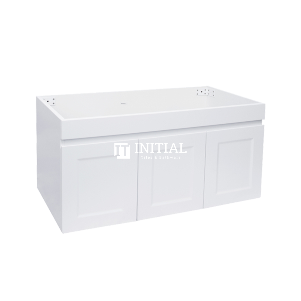 Hampton Wall Hung Vanity with 1 Finger Full Soft Close Door and 2 Side Drawers Matt White 900X450X450