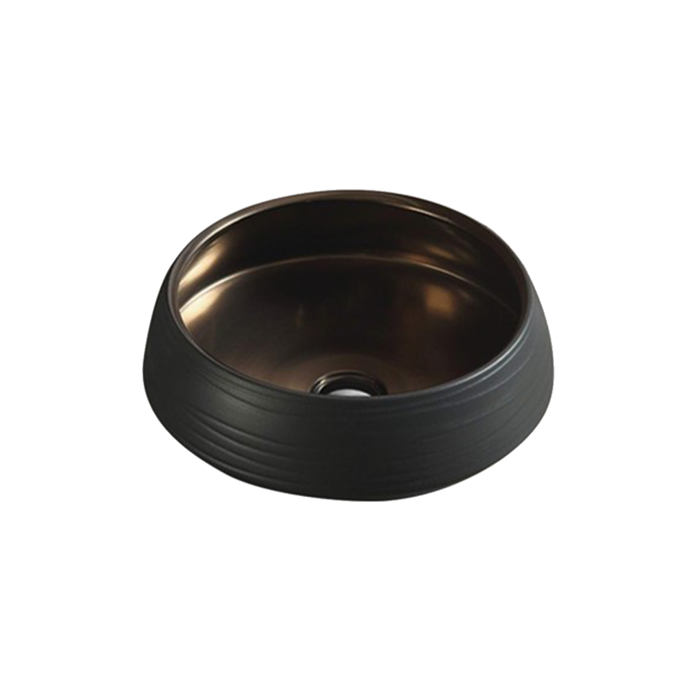 Matt Round Above Counter Basin Black & Copper 435X435X145