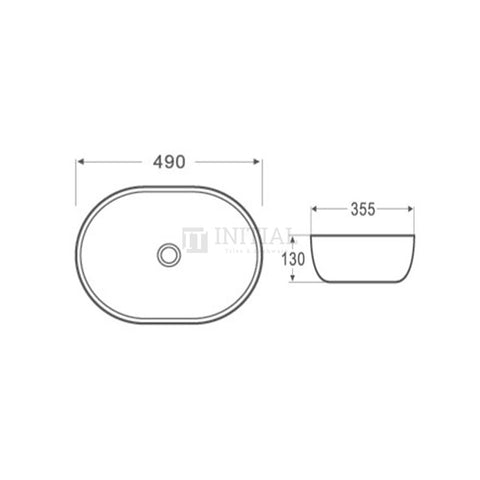 Gloss Oval Ultra Slim Above Counter Basin White 490X350X135