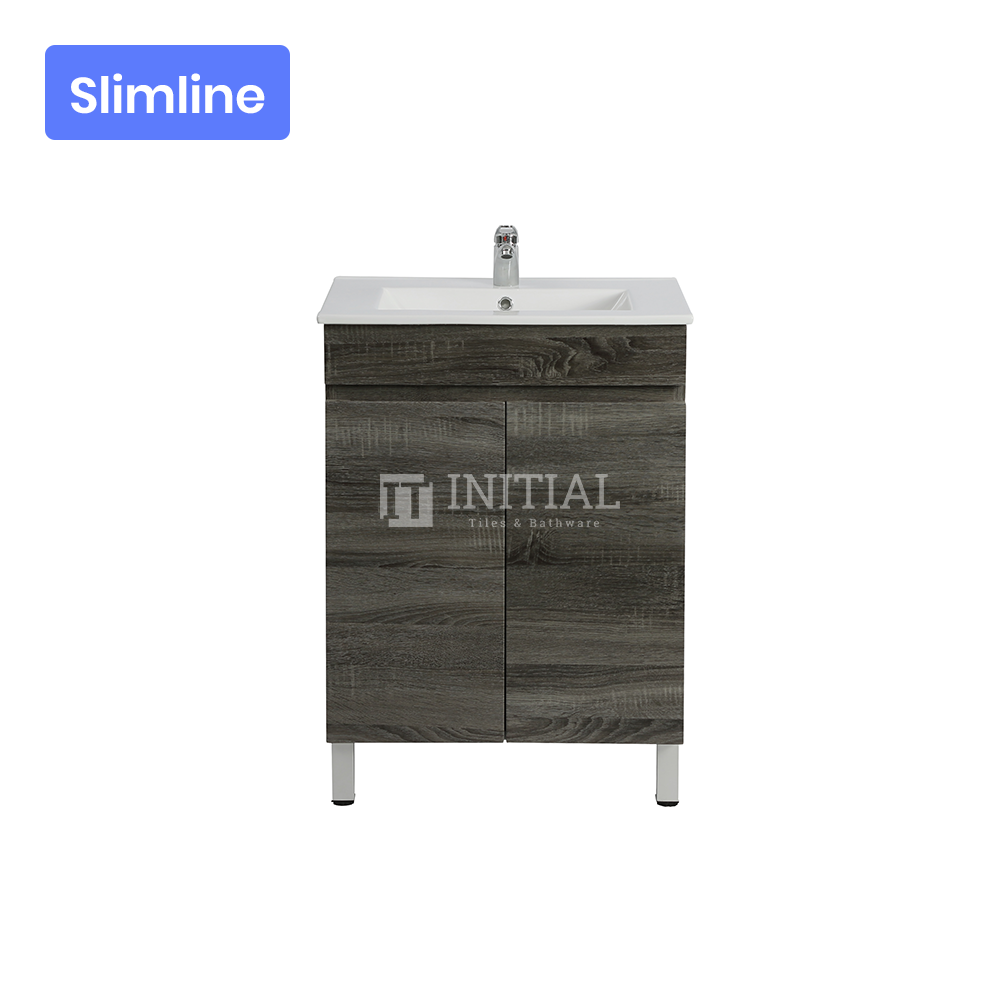 Begin Wood Grain PVC Filmed Slim Freestanding Floor Vanity With 2 Doors Dark Grey 590X350X830