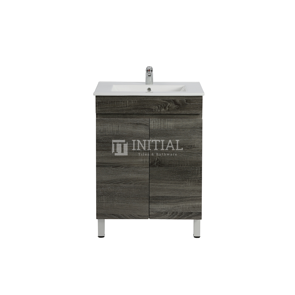 Begin Wood Grain PVC Filmed Freestanding Floor Vanity With 2 Doors Dark Grey 590X450X830