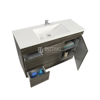 Begin Wood Grain PVC Filmed Freestanding Floor Vanity With 2 Doors and 2 Drawers Left Side Dark Grey 1190W X 830H X 450D