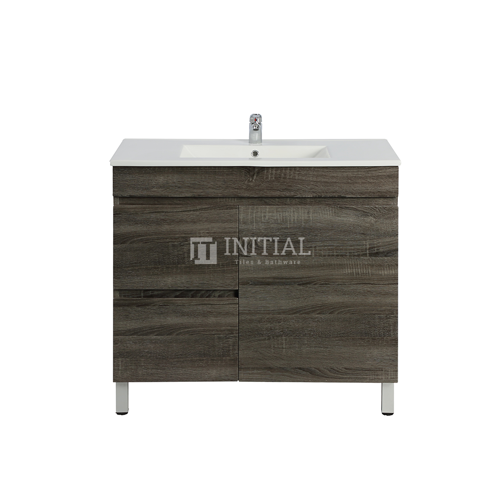 Begin Wood Grain PVC Filmed Freestanding Floor Vanity With 1 Door and 2 Drawers Left Side Dark Grey 740X450X830