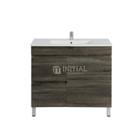 Begin Wood Grain PVC Filmed Freestanding Floor Vanity With 1 Door and 2 Drawers Left Side Dark Grey 890W X 830H X 450D