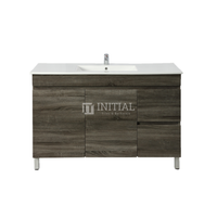 Begin Wood Grain PVC Filmed Freestanding Floor Vanity With 2 Doors and 2 Drawers Right Side Dark Grey 1190W X 830H X 450D