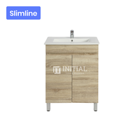 Begin Wood Grain PVC Filmed Slim Freestanding Floor Vanity With 2 Doors White Oak 590W X 830H X 355D