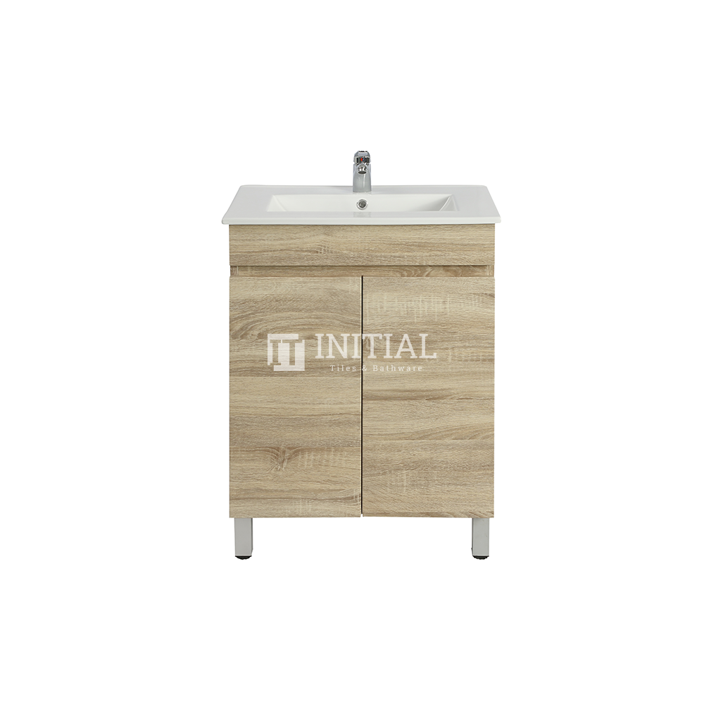 Begin Wood Grain PVC Filmed Freestanding Floor Vanity With 2 Doors White Oak 590X450X830