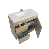 Begin Wood Grain PVC Filmed Freestanding Floor Vanity With 1 Door and 2 Drawers Left Side White Oak 740W X 830H X 450D