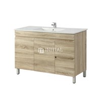 Begin Wood Grain PVC Filmed Freestanding Floor Vanity With 2 Doors and 2 Drawers Right Side White Oak 1190X450X830
