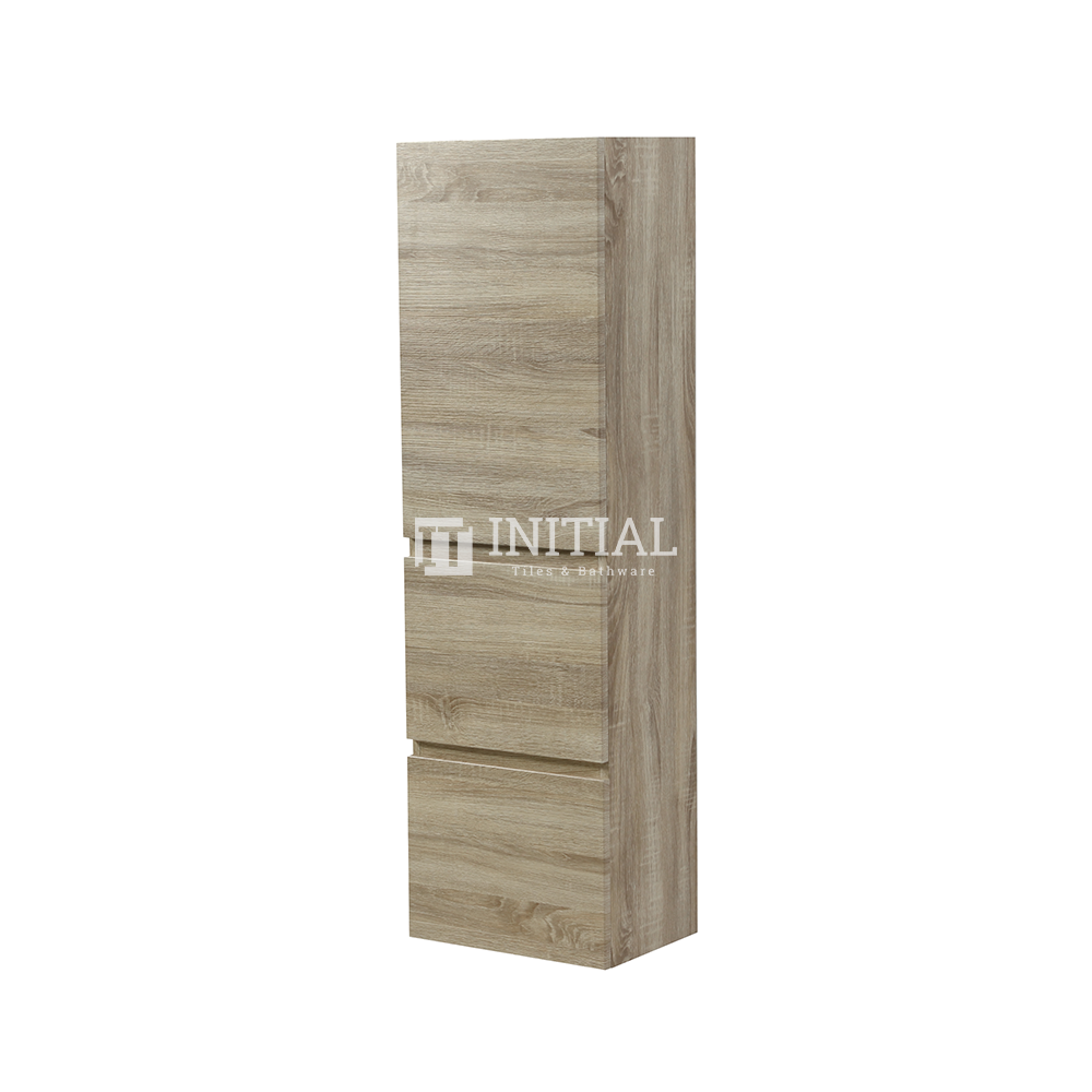 Begin Wood Grain PVC Filmed Wall Hung Tall Boy With Soft Closing 1 Door and 2 Drawers White Oak 400X1350X300