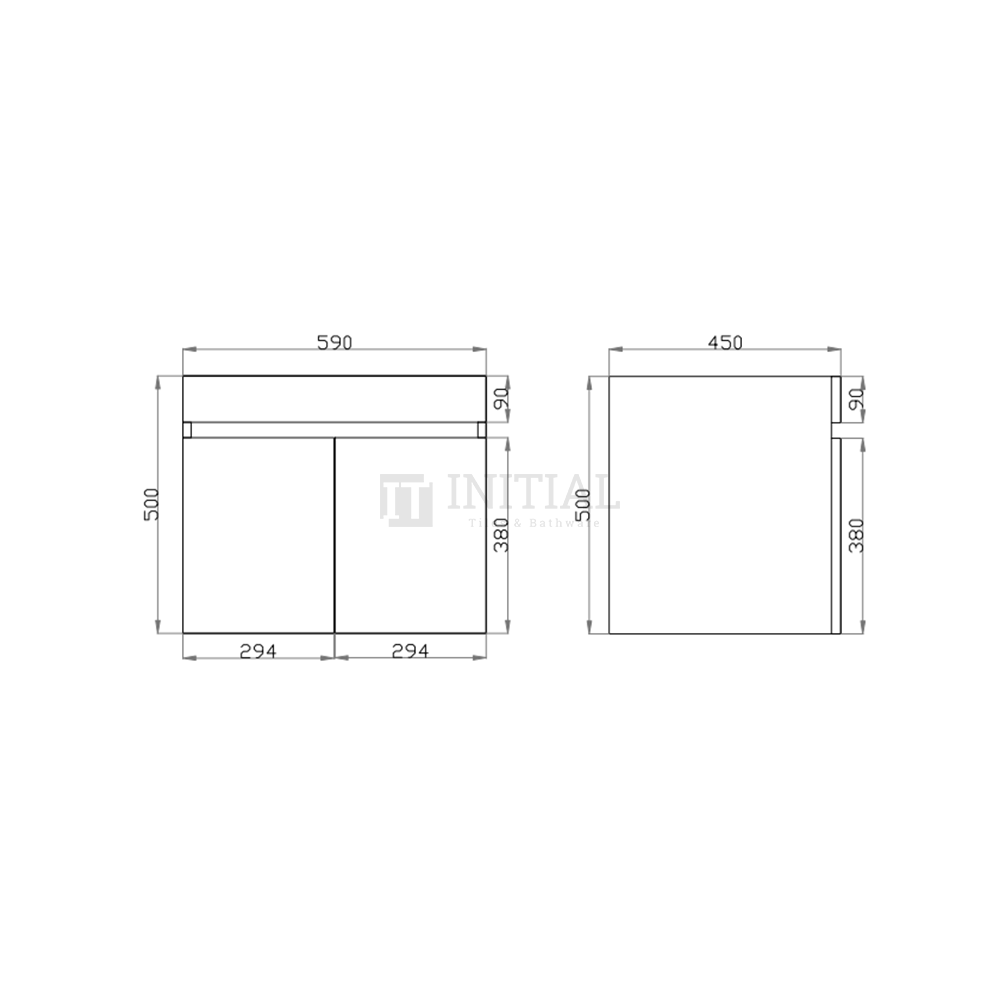Begin Wood Grain PVC Filmed Wall Hung Vanity With 2 Doors Dark Grey 590X450X500