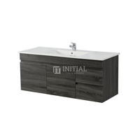 Begin Wood Grain PVC Filmed Wall Hung Vanity With 2 Doors and 2 Drawers Right Side Dark Grey 1190W X 500H X 450D