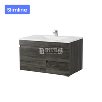 Begin Wood Grain PVC Filmed Slim Wall Hung Vanity With 1 Door and 2 Drawers Right Side Dark Grey 740W X 500H X 350D
