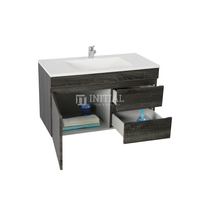 Begin Wood Grain PVC Filmed Wall Hung Vanity With 1 Door and 2 Drawers Right Side Dark Grey 740W X 500H X 450D