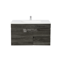 Begin Wood Grain PVC Filmed Wall Hung Vanity With 1 Door and 2 Drawers Right Side Dark Grey 890W X 500H X 450D