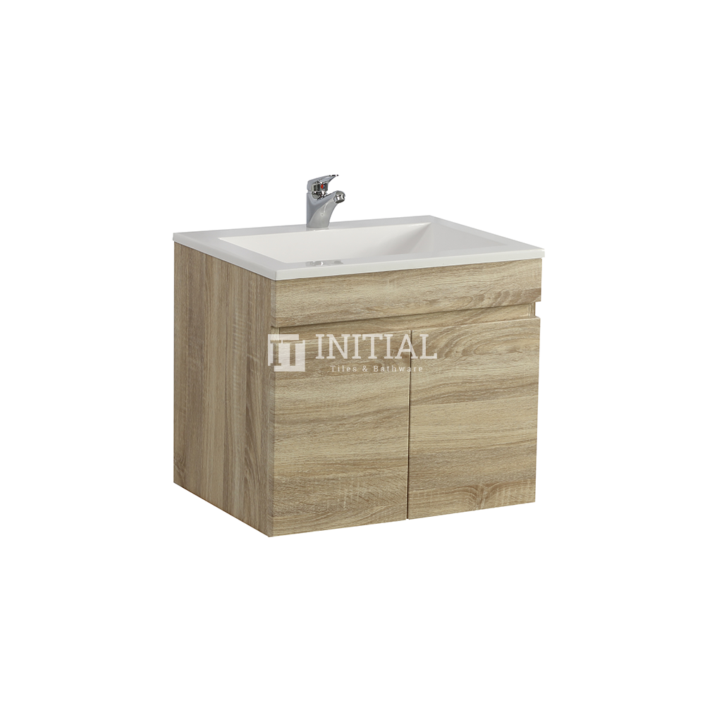 Begin Wood Grain PVC Filmed Wall Hung Vanity With 2 Doors White Oak 590X450X500