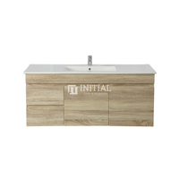 Begin Wood Grain PVC Filmed Wall Hung Vanity With 2 Doors and 2 Drawers Left Side White Oak 1190W X 500H X 450D