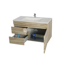 Begin Wood Grain PVC Filmed Wall Hung Vanity With 1 Door and 2 Drawers Left Side White Oak 740X450X500