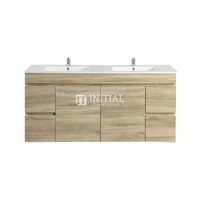 Begin Wood Grain PVC Filmed Wall Hung Vanity With 2 Doors and 4 Drawers White Oak 1490W X 500H X 450D
