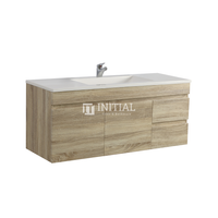Begin Wood Grain PVC Filmed Wall Hung Vanity With 2 Doors and 2 Drawers Right Side White Oak 1190X450X500