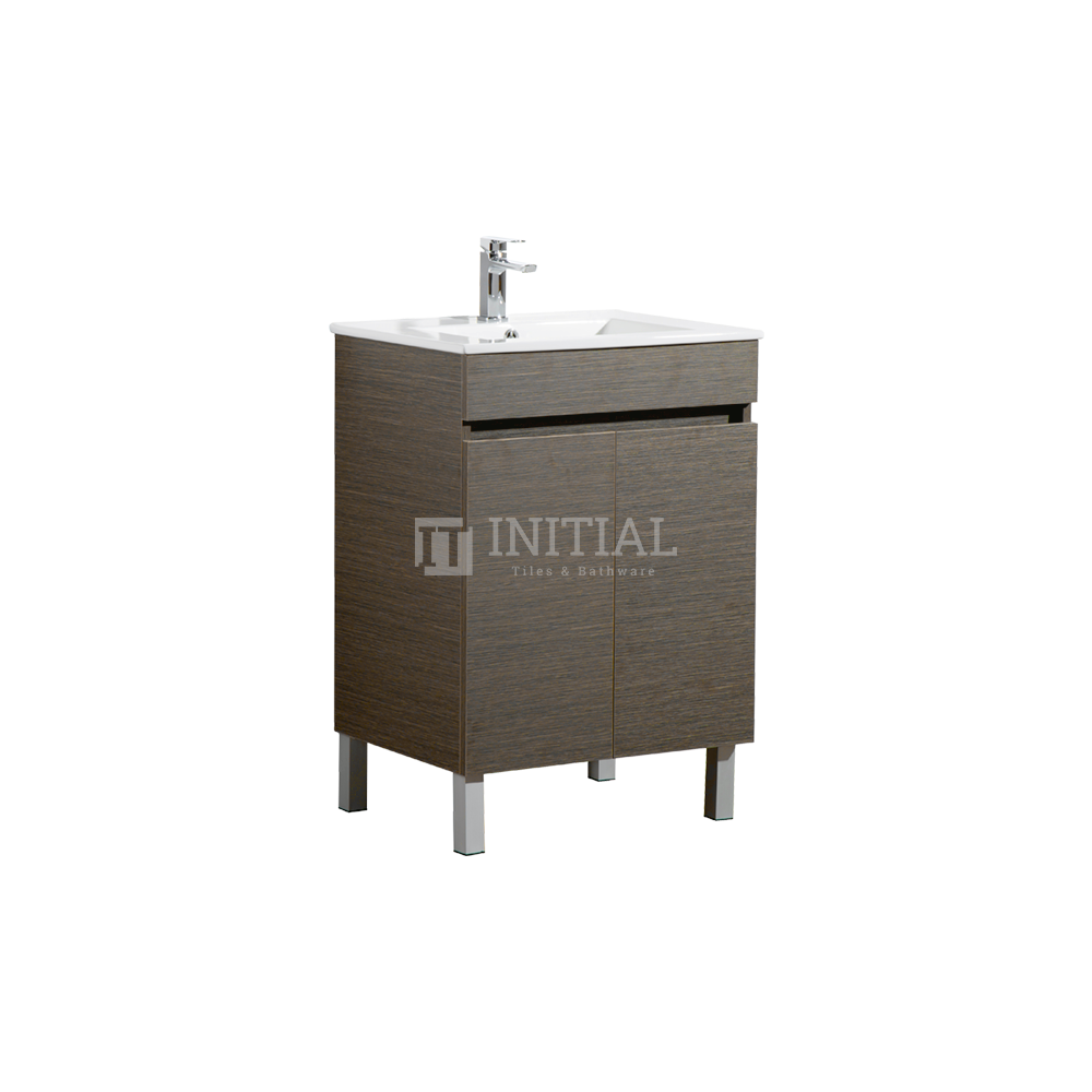 Essence Wood Grain Freestanding Vanity with 2 Doors Dark Brown 590W X 860H X 455D