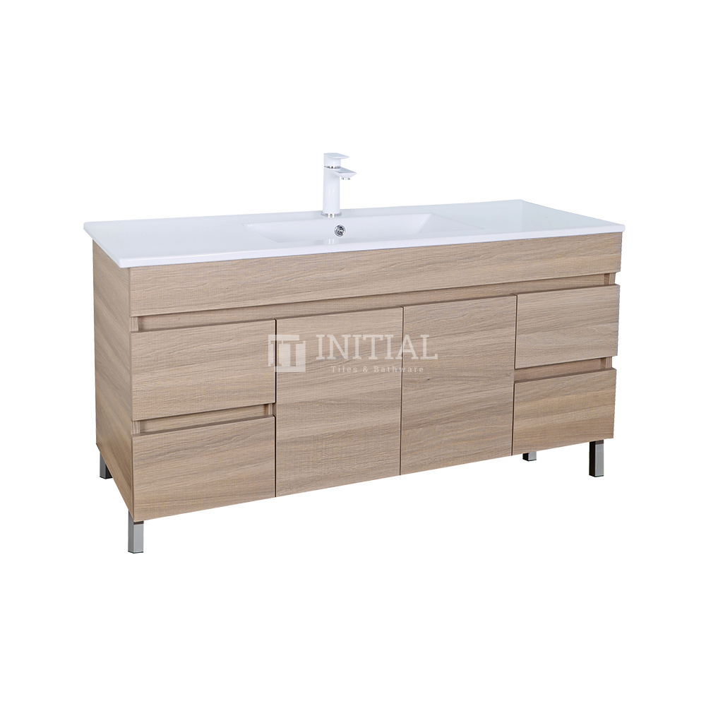 Essence Wood Grain Freestanding Vanity with 2 Doors and 4 Drawers Single Bowl Oak 1190W X 860H X 455D
