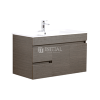 Essence Wood Grain Wall Hung Vanity with 2 Doors and 2 Drawers Left Side Dark Brown 900X460X525
