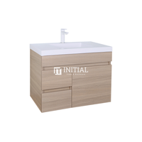 Essence Wood Grain Wall Hung Vanity with 1 Door and 2 Drawers Left Side Oak 740W X 525H X 455D