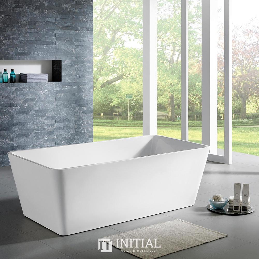 Bathroom Gloss White Kubic Floor Freestanding Bathtub with No Overflow 1400X702X590