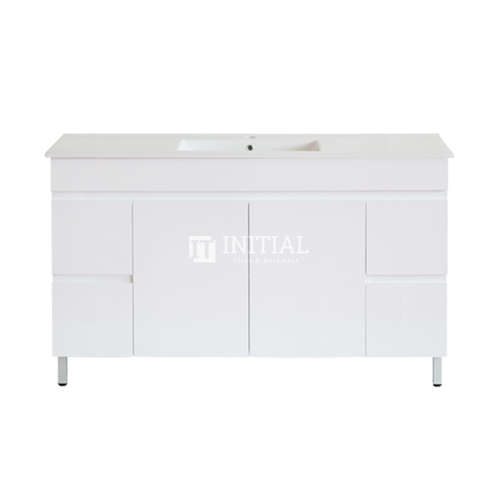 Gloss White MDF Freestanding Floor Vanity with 2 Doors and 4 Drawers Single Bowl 1490W X 850H X 455D
