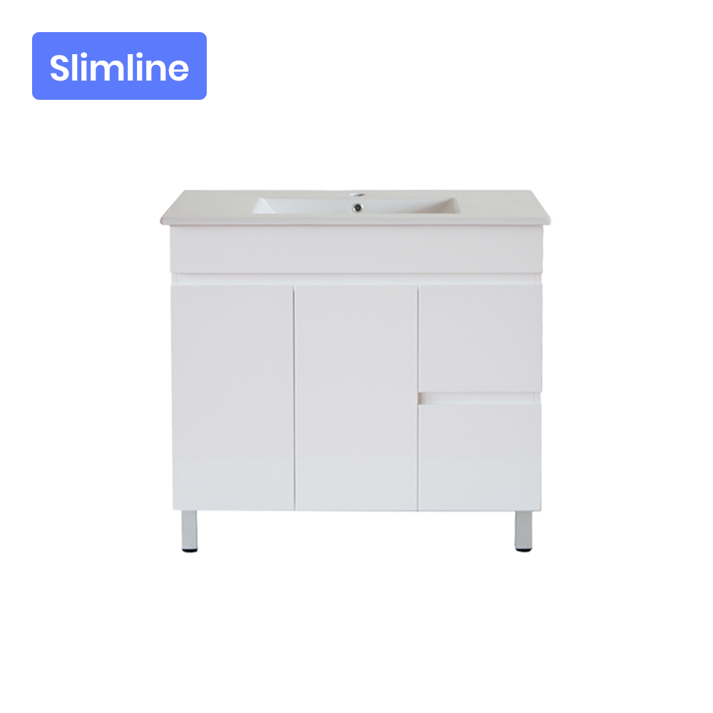 Gloss White MDF Slim Freestanding Floor Vanity with 2 Doors and 2 Drawers Right Side 890W X 850H X 355D