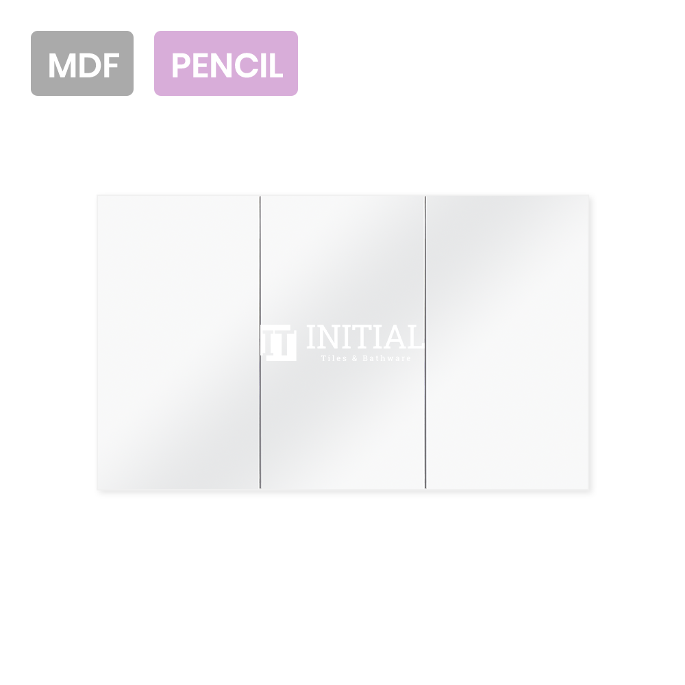 Gloss White MDF Pencil Edge Mirrors Shaving Cabinet with 3 Doors 1200X150X720