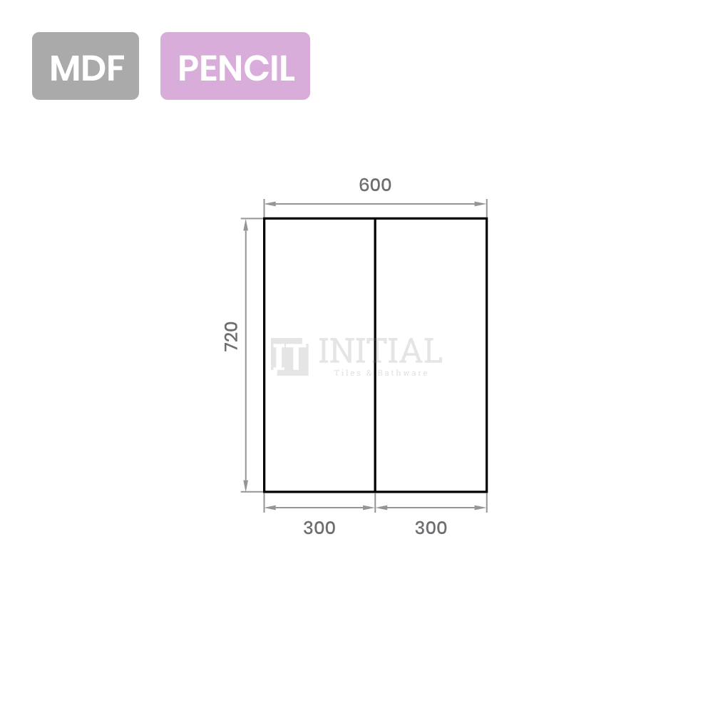 Gloss White MDF Pencil Edge Mirrors Shaving Cabinet with 2 Doors 600X150X720