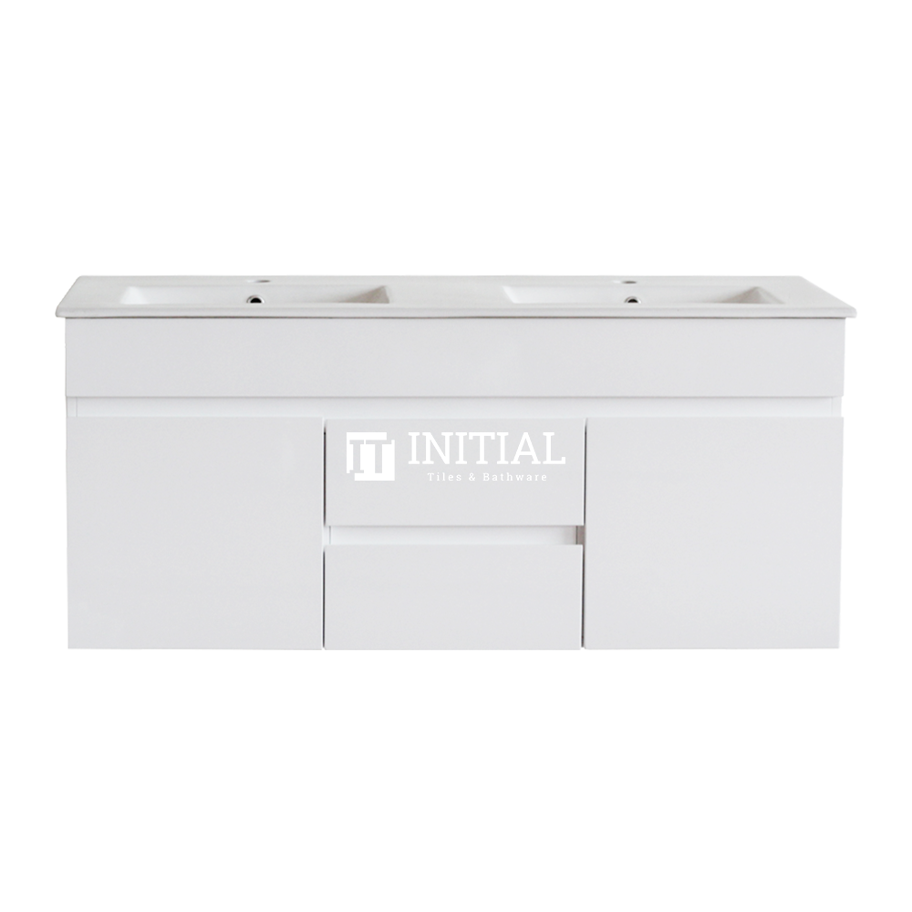 Gloss White MDF Wall Hung Vanity with 2 Doors and 2 Drawers Double Bowls 1190W X 500H X 455D