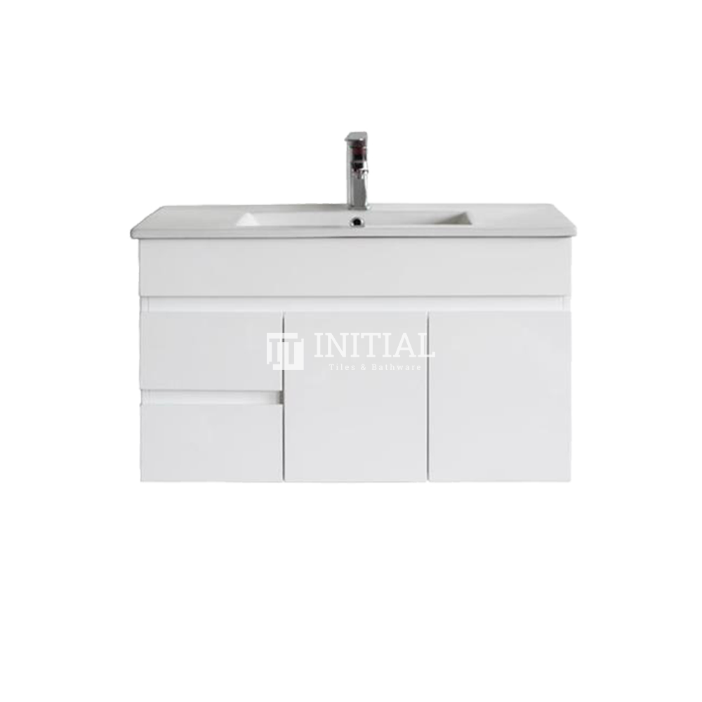 Gloss White MDF Wall Hung Vanity with 2 Doors and 2 Drawers Left Side 890W X 500H X 455D
