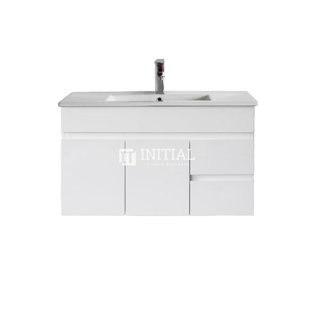 Gloss White MDF Wall Hung Vanity with 2 Doors and 2 Drawers Right Side 890W X 500H X 455D