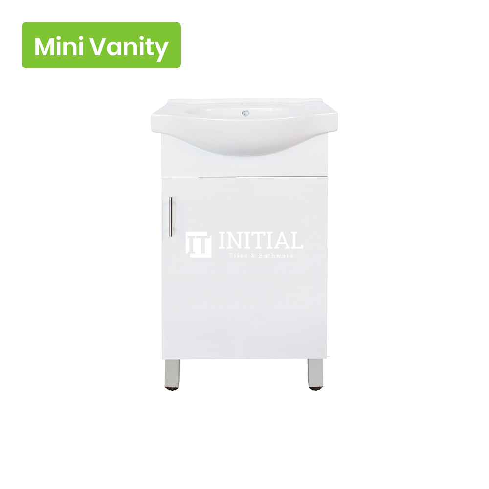 Gloss White MDF Freestanding Floor Vanity with 1 Door with Handle 450W X 870H X 360D